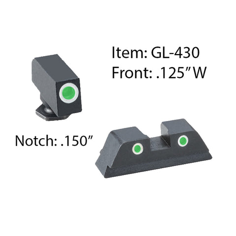 AMERIGLO Glock Classic Style 3 Dot Green Tritium White Outline Front and Rear Sights (GL-430)