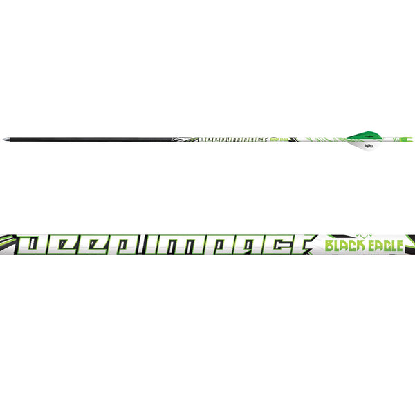 BLACK EAGLE 6 Pack of Deep Impact 300 Grain .001in Fletched Arrows (Deep-I-Fletched-0010)