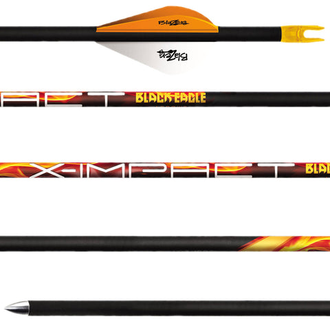 BLACK EAGLE 6 Pack of X-Impact 500 Grain .001in Fletched Arrows (XIMP-FLETCHED-0013)