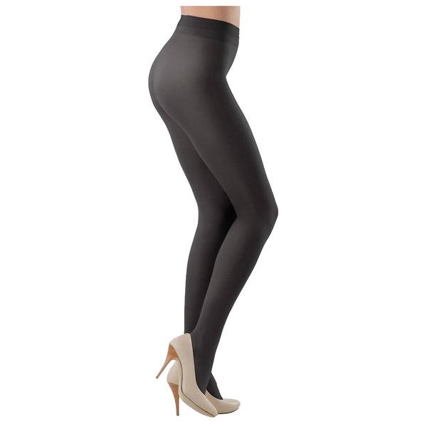 Conte Women's Grey (Grafit) Microfiber Opaque Footed Tights - 80 Denier Pantyhose - Episode