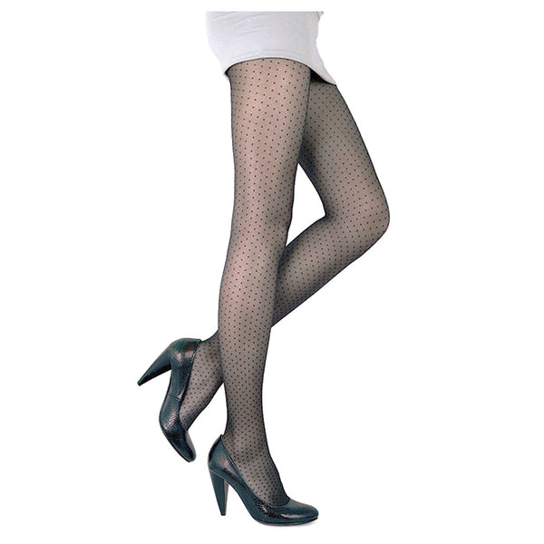 Conte Women's Grey Polka Dot Pantyhose Tights  20 Denier - Perla