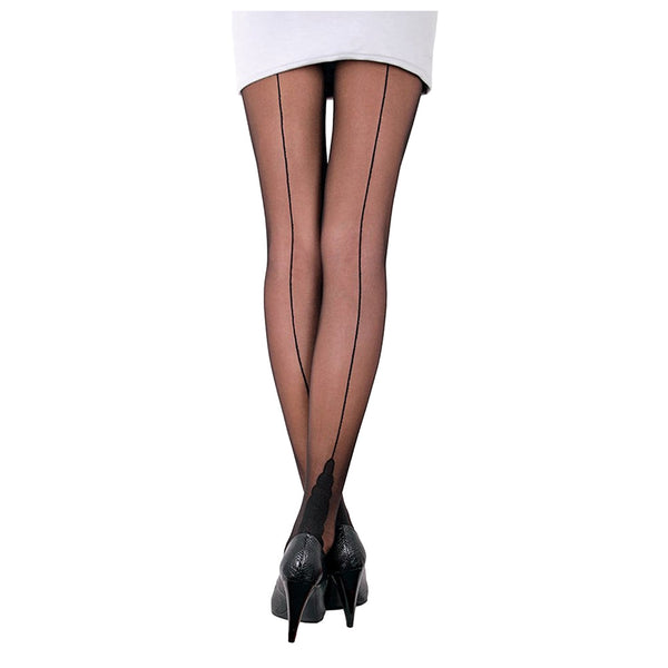 Conte Brown Sheer Back Seam Pantyhose Tights Stella