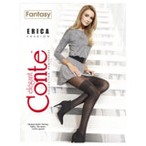 Conte Women's Black (Nero) Opaque Pantyhose Tights with Stockings Imitation Pattern and Sheer Top Erica
