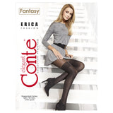 Conte Women's Grey (Grafit) Opaque Pantyhose Tights with Stockings Imitation Pattern and Sheer Top Erica