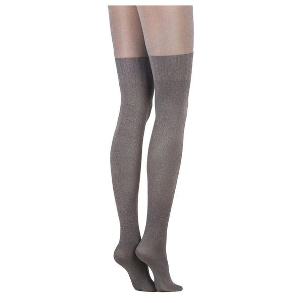 Conte Women's Light Grey Opaque Pantyhose Tights with Stockings Imitation Pattern and Sheer Top Erica