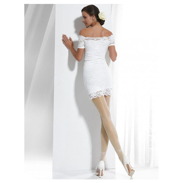 Conte Ivory Bridal Pantyhose Tights with Back Seam and Rhinestones - Wedding Event