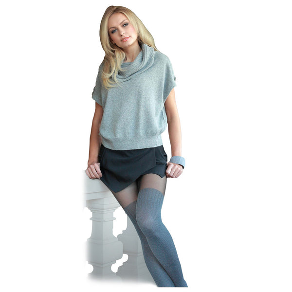 Conte Women's Light Grey - Dark Grey Tights with Sheer Top and  Thigh High Opaque Knit Stockings