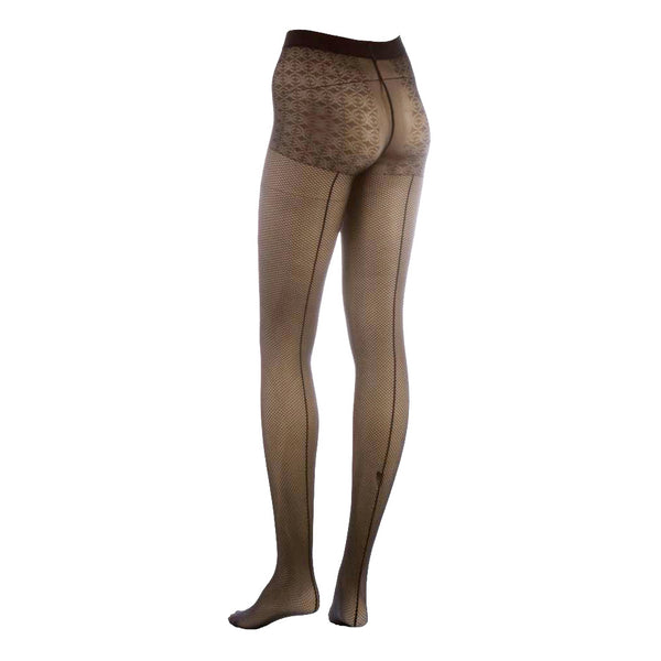 Conte Women's Back Seam Fishnet Patterned Grey Pantyhose Tights  - Linea