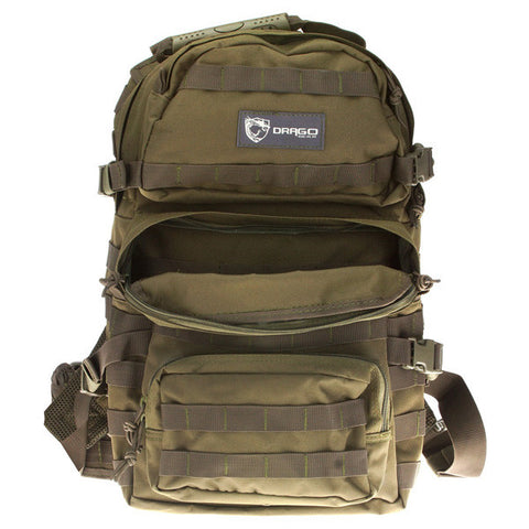 DRAGO GEAR Assault Backpack, 600D Polyester, Green (14302GR)