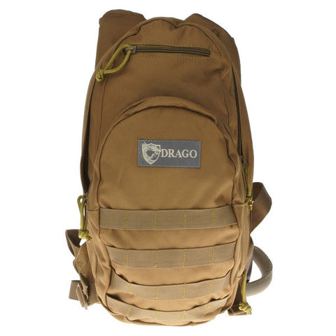 DRAGO GEAR Hydration Pack, 600D Polyester, Tan (11301TN)