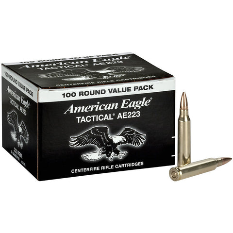 FEDERAL American Eagle .223 Ammo, FMJ-BT, 55 Gr, 100 Round Value Pack (AE223BL)