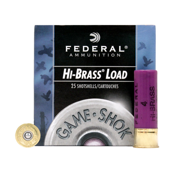 FEDERAL Game-Shok Upland Hi-Brass 16 Gauge 3in #4 Lead Ammo, 25 Round Box (H1634)