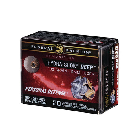 FEDERAL Hydra-Shok Deep 9mm 135Gr JHP 20Rd Box Ammo (P9HSD1)