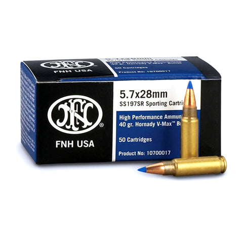 FN America Self Defense 5.7x28mm 40 Grain V-Max Blue Tip Ammo, 50 Round Box (SS197SR)
