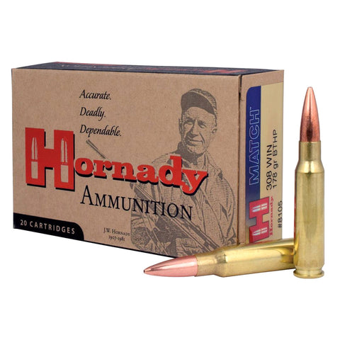 HORNADY Match 308 Win 178Gr BTHP Rifle Ammo (8105)