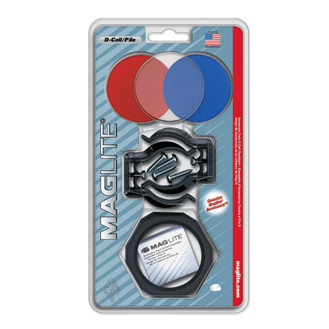 MAGLITE D-Cell Accessory Flashlight Pack w/ Holder, Brackets, Clear/Red/Blue Lenses (ASXX376)