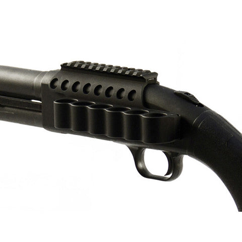 MESA-TACTICAL 6-Shell SureShell Side Saddle Mount w/ Rail, Mossberg 500, 590 12Ga 4in. (93630)