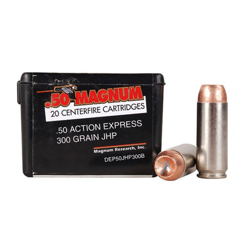 MAGNUM RESEARCH .50 Action Express 300Gr JHP 20Rd Box Ammo (DEP50JHP300B)