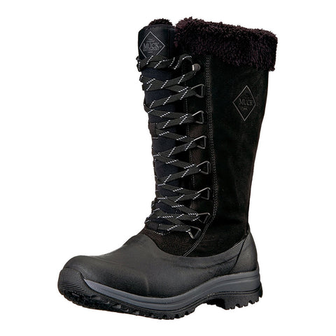 MUCK BOOT COMPANY Womens Arctic Apres Lace Tall Winter Black Boots (WALT-000-BLK)