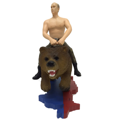 Putin Na Medvede (Putin On Bear) - Action Figure / Decorative Statue of Vladimir Putin riding a Grizzly Bear.