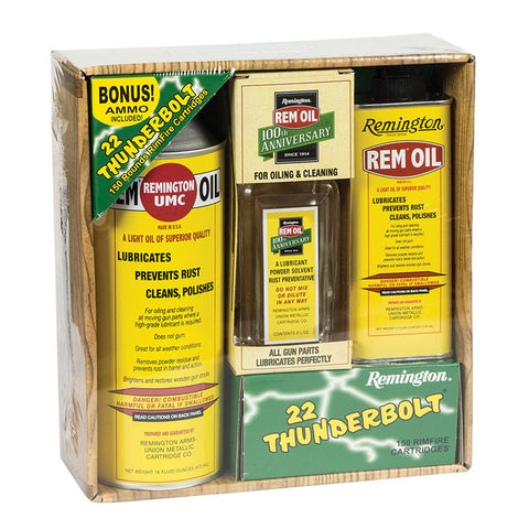 Remington Rem-Oil 100th Anniversary Cleaning Kit with 150 Rounds of Remington 22LR ammo (18006)
