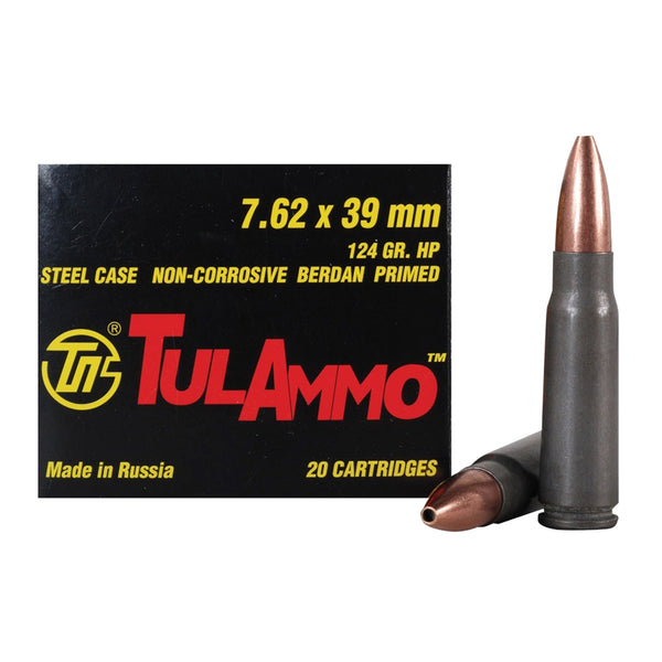 TULAMMO Steel Cased 7.62x39mm 124 Grain Hollow Point Ammo, 20 Round Box (UL076204)