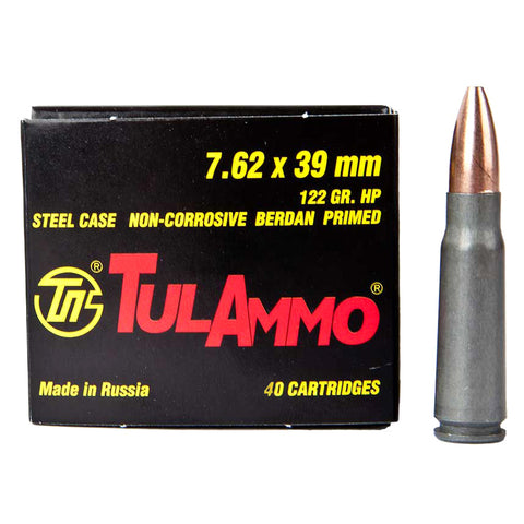 TULAMMO Steel Cased 7.62x39mm 122 Grain Hollow Point Ammo, 40 Round Box (UL076212)