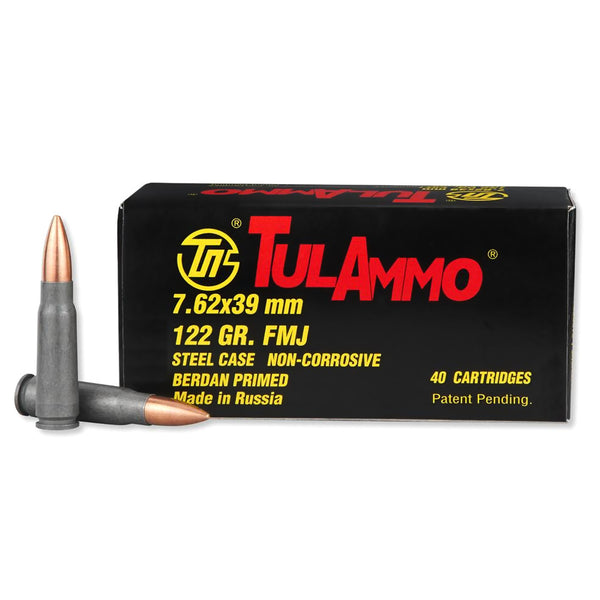 TULAMMO Steel Cased 7.62x39mm 122 Grain FMJ Ammo, 40 Round Box (UL076240)