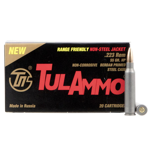 TULAMMO Centerfire Rifle 223 Remington/5.56 NATO 55 Gr Hollow Point Ammo, 20 Rd Box (TA223557)
