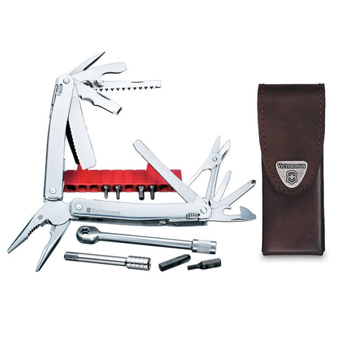 VICTORINOX SwissTool Spirit Plus Ratchet Multi Tools with Leather Pouch (53806)
