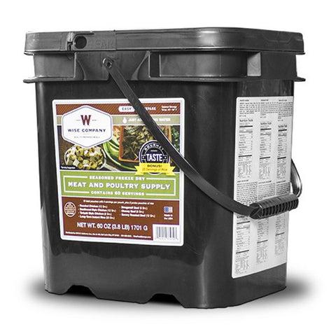 WISE FOOD 60 Serving Gourmet Freeze Dried Meat Grab +20 Rice Servings and Go Food Kit (07-702)