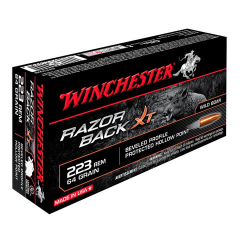 Winchester Razorback XT 223 Rem 64Gr Hollow Point Ammo, 20 Round Box (S223WB)