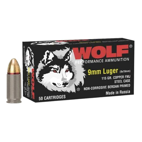 WOLF Handgun 9mm 115 Grain FMJ Ammo, 800 Round Case (919TINS)