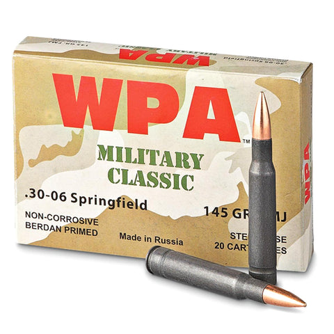 WOLF Military 30-06 Sprg. 145 Grain FMJ Ammo, 500 Round Case (MC3006FMJ145)
