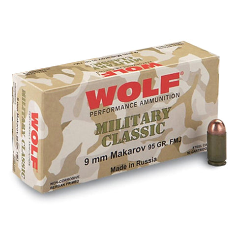 WOLF Military Classic 9mm Makarov 95 Grain FMJ Ammo, 1000 Round Case (MC918FMJ)