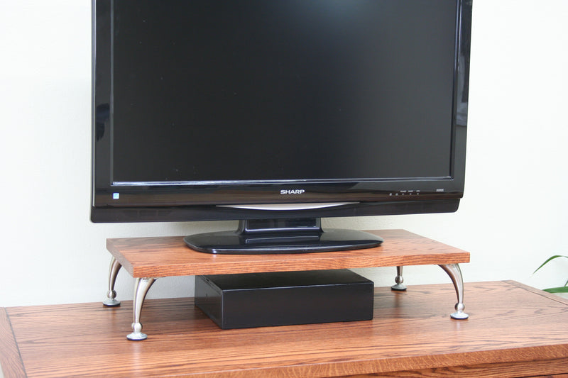 Oak Pillar Leg TV Riser
