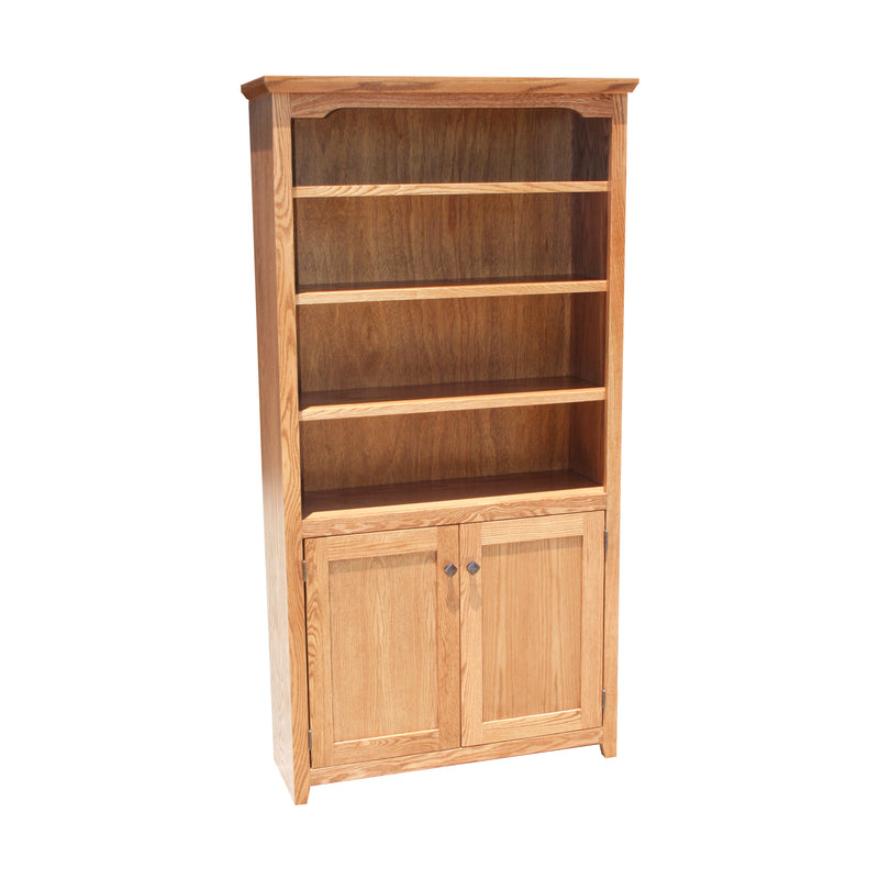 "Modern Shaker Alder 38""W Bookcase with Bottom Doors"