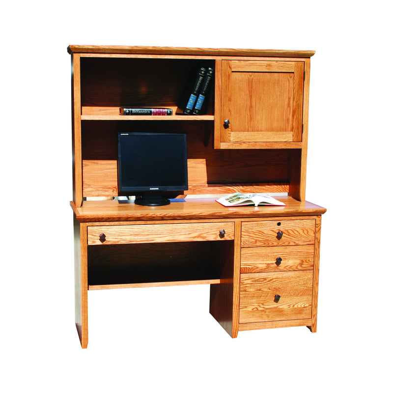 "Modern Shaker Oak 57"" Desk and Hutch"