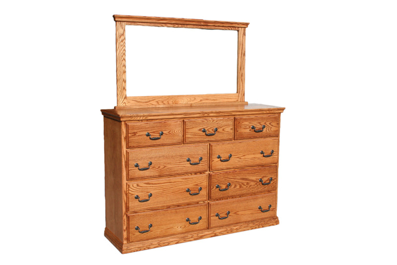 IH-O-T453-Set Casano Traditional Oak 9-Drawer Dresser & Mirror Set