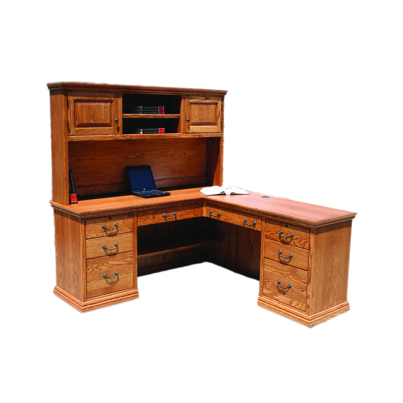 "Casano Traditional Oak 72"" L-Shaped Desk and Hutch"