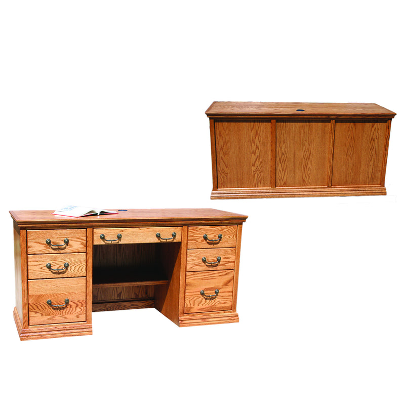 "Casano Traditional Oak 62"" Executive Desk"