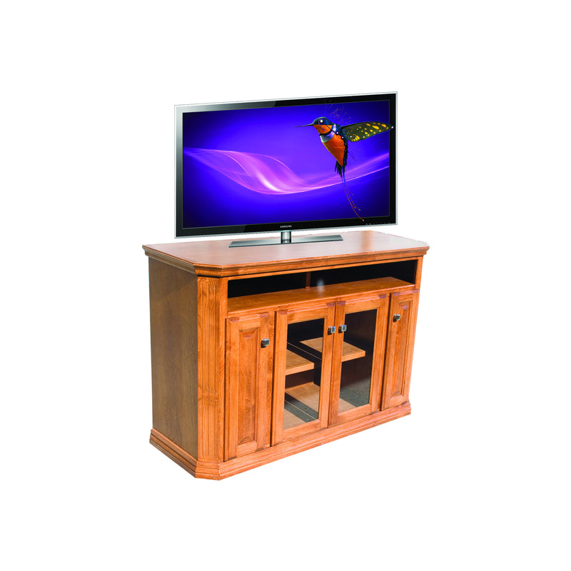"Casano Traditional Oak 56"" Clipped Corner Entertainment Console"
