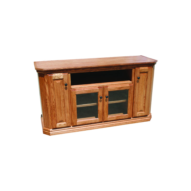 "Casano Traditional Oak 56"" Clipped Corner TV Console"