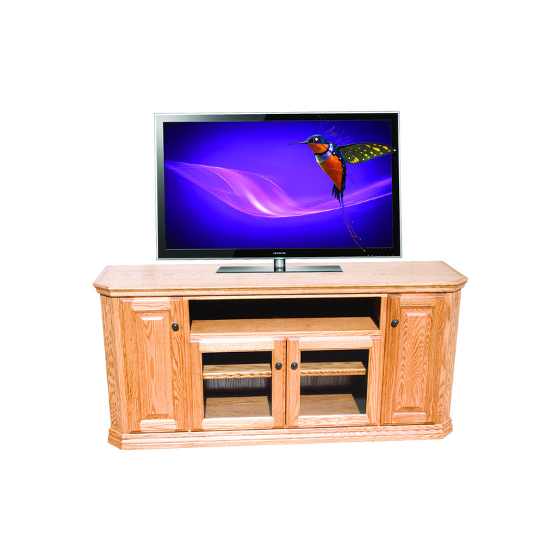 "Casano Traditional Oak 65"" Clipped Corner TV Console"