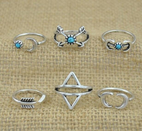 Aqua Stoned Midi Ring Set