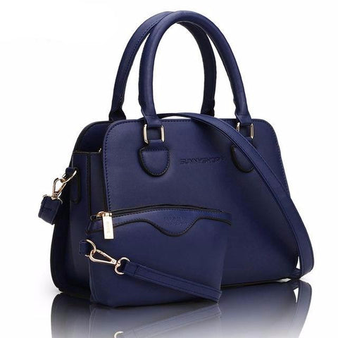 2Pc Navy Blue Leather Purse