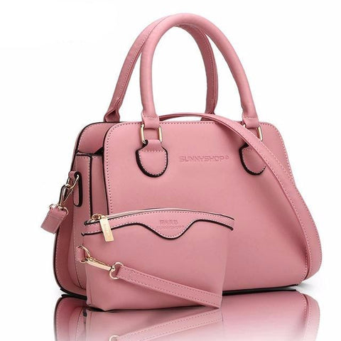 2Pc Pink Leather Purse