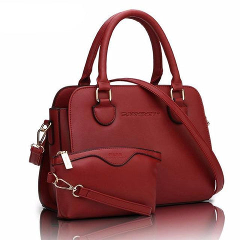 2Pc Wine Red Leather Purse