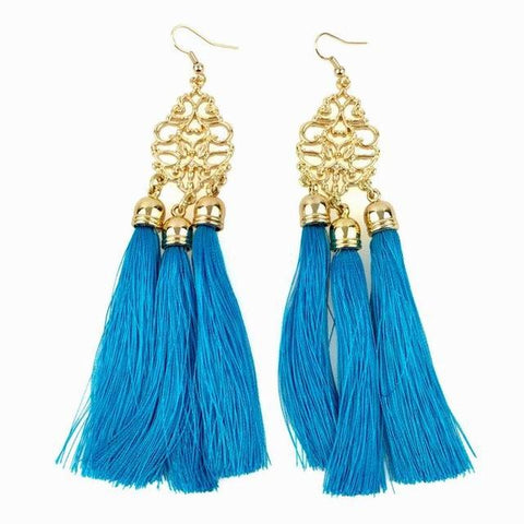 Aqua Long Tassel Earrings