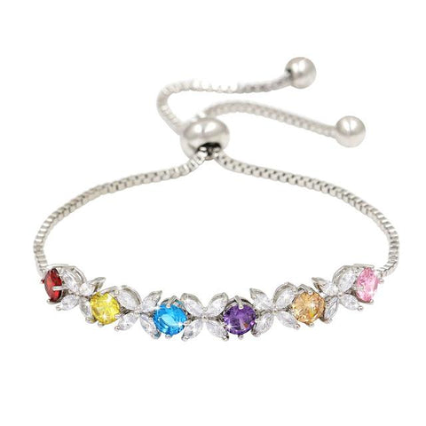 Multicolor Dainty Flower Bracelet
